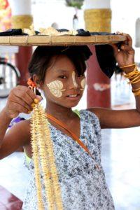 Burmese girl selling trinkets