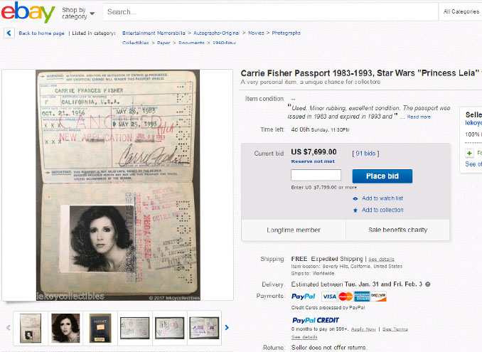 Carrie Fisher's old passport is for sale on eBay.